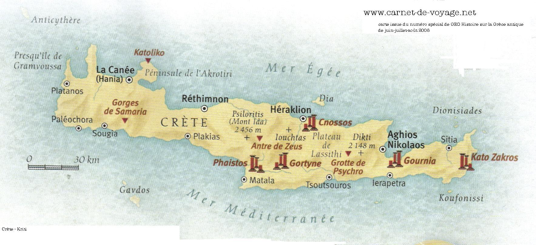 Carde voyage en Crète avec des Photos grand format